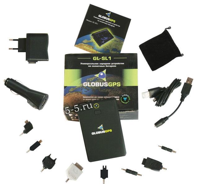 GlobusGPS GL-SL1 универсальная зарядка на солнечной батарее + фонарь и резервный аккумулятор 2600 мАч LI-ION комплект поставки
