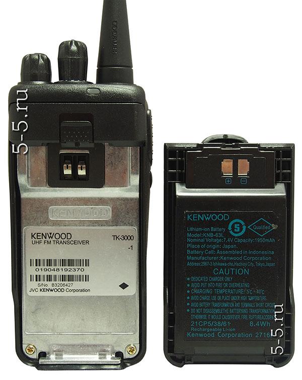 Вид сзади рации Kenwood TK - 2000/3000 и аккумулятора