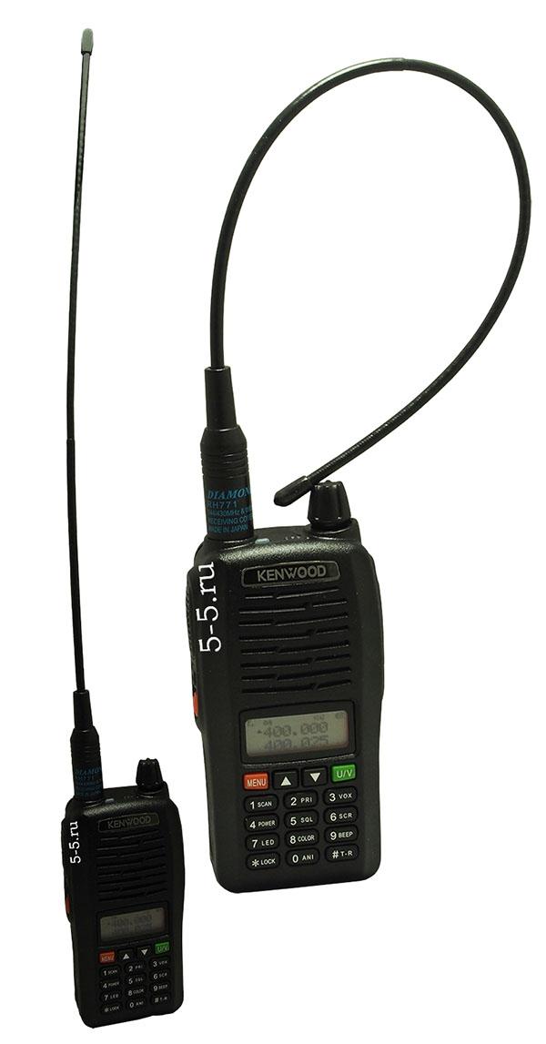 Внешний вид антенны Diamond RH771 c радиостанцией Kenwood TH-X5